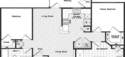 Two Bedroom – Two Bath (1017 SQ. FT.)
