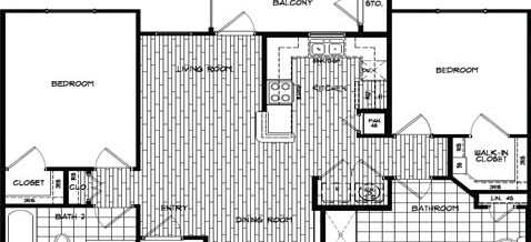 Two Bedroom – Two Bath (1043 SQ. FT.)